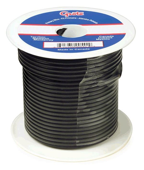 89-6002, Grote General Purpose Thermo Plastic Wire - 12 Gauge, Black ...