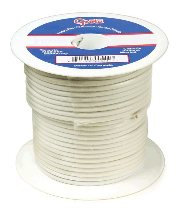 89-7007, Grote General Purpose Thermo Plastic Wire - 14 Gauge, White ...