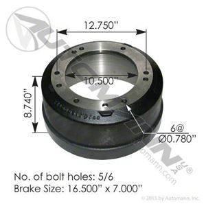 "Picture of 151.2997D, Brake Drum 16.5"" x 7"""