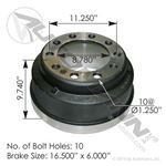 "Picture of 151.6602BA, 3687X Brake Drum - 16.5"" x 6"""