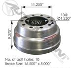 "Picture of 151.6503BA, 3758X Brake Drum - 16.5""x 5"""