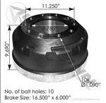 "Picture of 151.6604BA, Brake Drum - 16.5"" x 6"", Gunite 3772X, Webb 62670B"