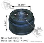 "Picture of 151.5602BA, 3753X Brake Drum - 15"" x 6"""