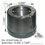 "Picture of 151.27505, Brake Drum 3887X - 12.25"" x 7.5"""