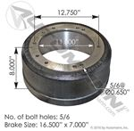 Picture of 151.6716, Brake Drum - Gunite 8656, Webb 68897F