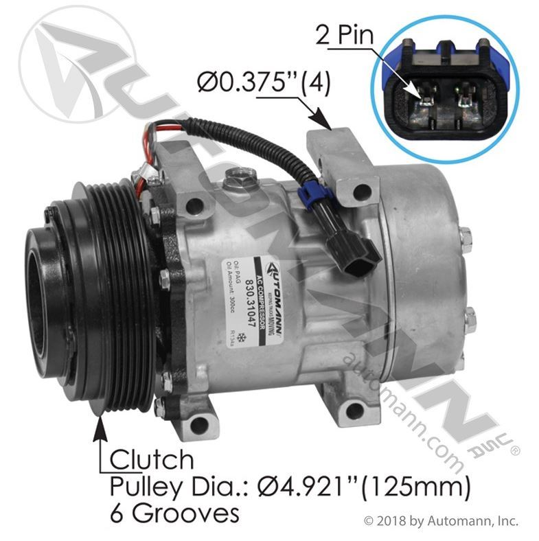 Picture Of 830 31047 Ac Compressor 7h15 Type 6 Groove 125mm Clutch Diameter