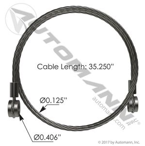 "Picture of HLK2535, Hood Cable - 32.25"", Freightliner A1712756000, Freightliner 2000-2011 FL80"