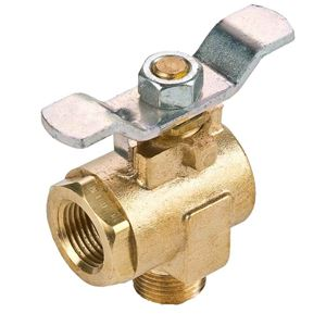 "Picture of V590P-8, 1/2"" Male Pipe x 1/2"" Female Pipe Brass Ball Valve - 250 Max PSI, 90 Degree Valve, Steel Tee Handle"
