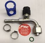 """Picture of GC-OTF134V90-0806, 13/32"""" Hose ID x 5/8""""-18 Thread - O Ring Tube, Female, Swivel, R134a Valve, 90 Degree - GC Cool Clip Hydraulic Fitting"""