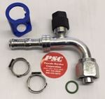 """Picture of GC-OTF134V90-0808, 13/32"""" Hose ID x 3/4""""-16 Thread - O Ring Tube, Female, Swivel, R134a Valve, 90 Degree - GC Cool Clip Hydraulic Fitting"""