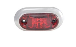 "Picture of 45002-5, Oval LED 2.5"" Clearance Marker - Red with Chrome Bezel, Surface Mount"