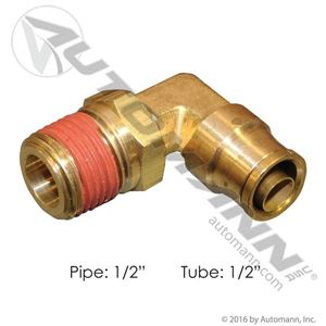 """Picture of 177.13B698D, 1/2"""" PLC Swivel Tube x 1/2"""" Male Pipe Connector - Brass, 90 Degree Elbow, Also Try O Brien Brass E2469-8-8"""