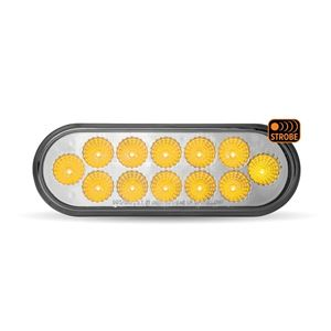 "Picture of TLED-OX60RAS, 6"" Round Dual Revolution Red STT to Amber Strobe LED Light - 12 Diodes"