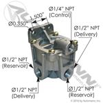 "Picture of 170.KN28520, RG2 Type Relay Valve - 5.6 PSI Crack Pressure, 1/2"" Ports Supply and Delivery, 1/4"" Control Port"