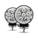 "Picture of TLED-U102, 4.5"" Round 'Radiant Series' LED Work Lamps - Sold in Pairs, Spot & Flood Beam, 4300 Lumens"