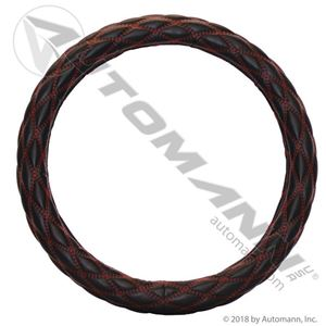 """Picture of 562.99011SWC-R, Steering Cover for 18"""" Steering Wheels - Black with Red Diamond Stitch Accents"""