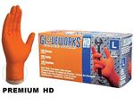 Picture of GWON46100, Large Industrial Disposable Gloves - Nitrile, Powder Free, Raised Diamond Texture, Orange