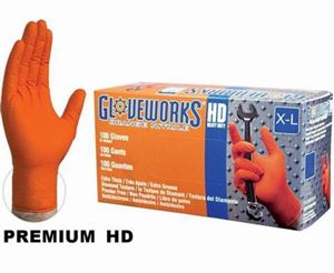 Picture of GWON48100, XL Industrial Disposable Gloves - Nitrile, Powder Free, Raised Diamond Texture, Orange