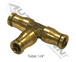 """Picture of 177.13B644, Union Tee 1/4"""" Brass - Push Lock Connect (PLC) 1/4"""" - Also Try O'Brien Brass E2464-4, E24644"""