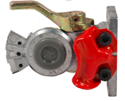 "Picture of 12-308, Gladhand Shutoff - Red Emergency, 3/8"" Female Pipe Thread, Bulkhead Mount, SAE J318"